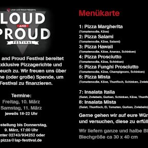 Pizzaessen für das Loud and Proud Festival